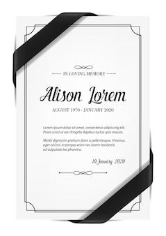 死亡記事の哀悼の意と喪のリボンが付いた葬儀カード。
