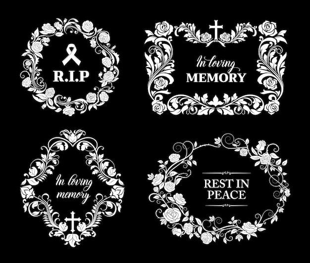 꽃 장식과 십자가가있는 장례식 프레임