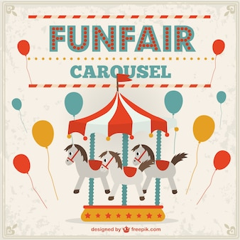 Funfair carousel and balloons