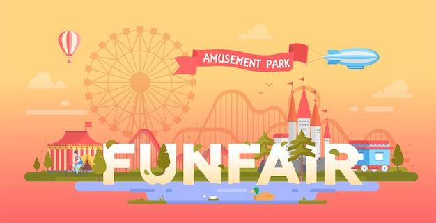Funfair - современная векторная иллюстрация в круглой рамке с местом для текста. парк развлечений с цирком павильон, замок, силуэт большого колеса. городской пейзаж с мостом, дома
