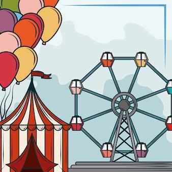 Funfair tent wheel ferris