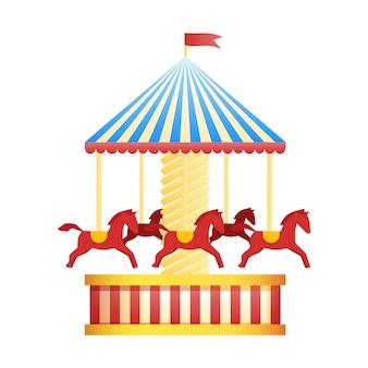 Старинные карусели значок карусели, символ ярмарки. тема парка развлечений. множество достопримечательностей. funfair. хорошие эмоции