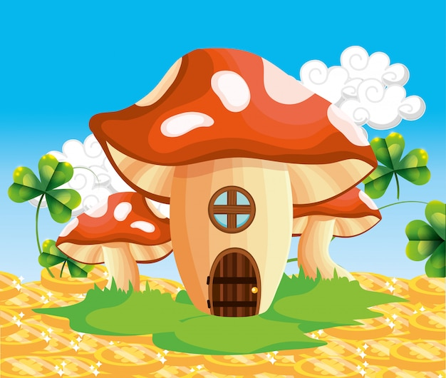 Fungus house with gold coins and clovers