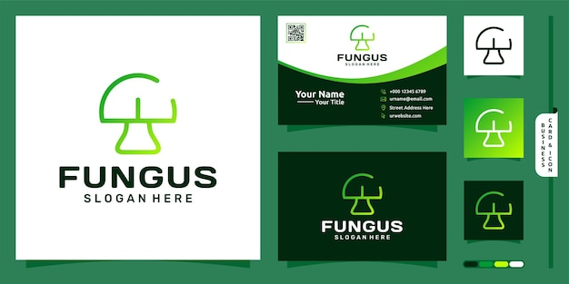 Fungus or mushroom line art logo design and business card premium vector