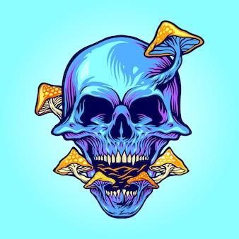 Гриб череп грибы иллюстрации