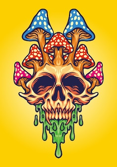 Fungus skull psychedelic melt vector illustrations for your work logo, mascot merchandise t-shirt, stickers and label designs, poster, greeting cards advertising business company or brands.