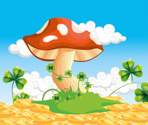 Fungus with clovers plants and gold coins