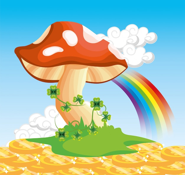 Fungus with clovers plants and rainbow with coins