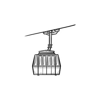 ケーブルカーの手描きのアウトライン落書きアイコン。ケーブルウェイとスキーケーブルリフト、ウィンタースポーツと山のコンセプト