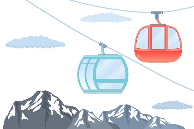 Фуникулер. лыжная канатная дорога. горная иллюстрация