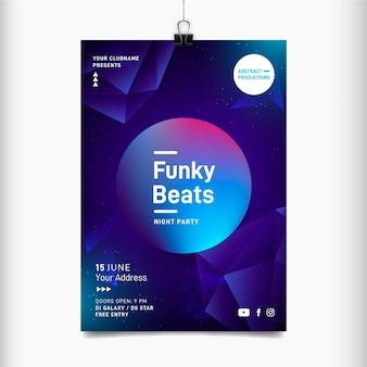 Modello del manifesto del festival di musica di battiti funky