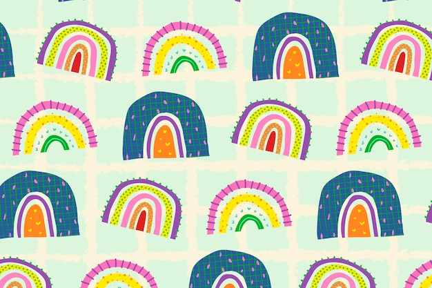 Веселый каракули узор радуга фон вектор