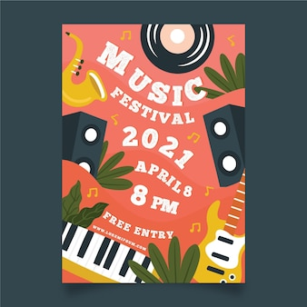 Funky instruments music event poster template
