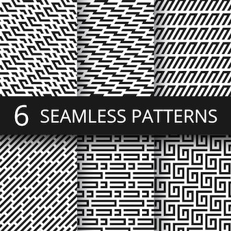 Funky line geometric vector seamless patterns. striped repeat vector textures with optical illusion effect