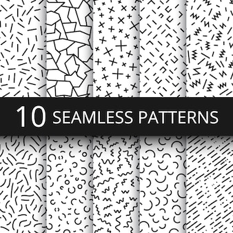 Funky memphis seamless vector patterns. 80s and 90s school fashion black and white texture backgrounds with simple geometric shapes