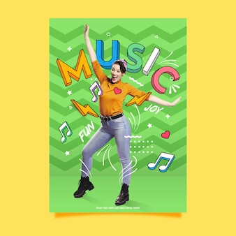 Funky music fashion poster template