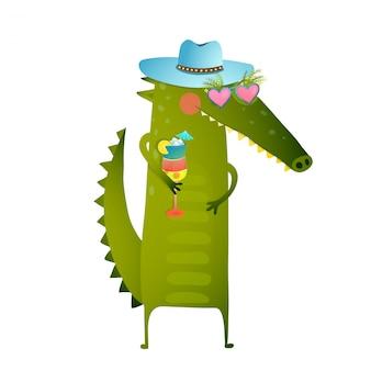 帽子のキャラクターを身に着けているファンキーなパーティーカクテルクロコダイル
