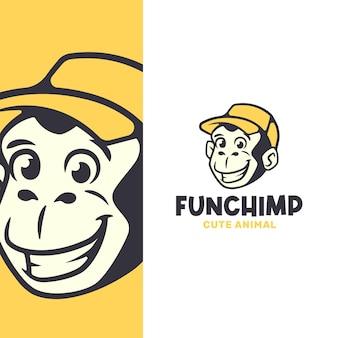 펑키 복고풍 침팬지 얼굴 로고 템플릿