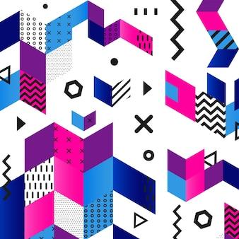 ファンキーなシームレスな抽象的なgeomerticパターン-レトロなメンフィススタイルのモダンなマテリアルデザインの背景。包装紙、布、本の表紙、テキスタイル、名刺のテンプレート