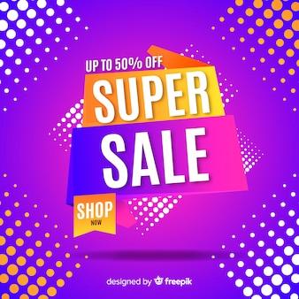 Funky super sale banner concept