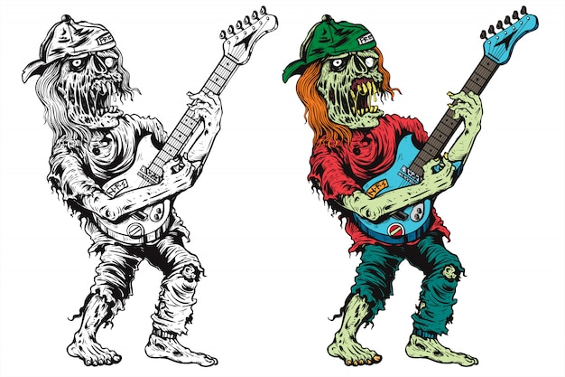 Funky zombie play electrical guitar   illustration