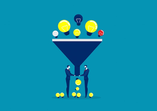 Funnel big data flat style concept.   light bulb illustration of idea filter. data analysis.
