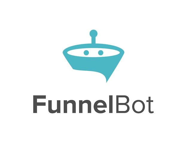 Funnel and chatbot simple sleek creative geometric modern logo design
