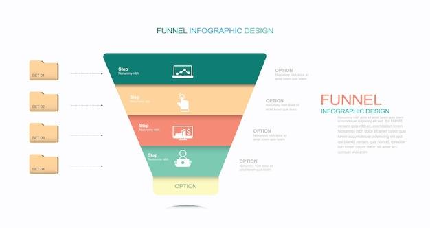 Funnel diagram template stock illustration funnel infographic sale vector