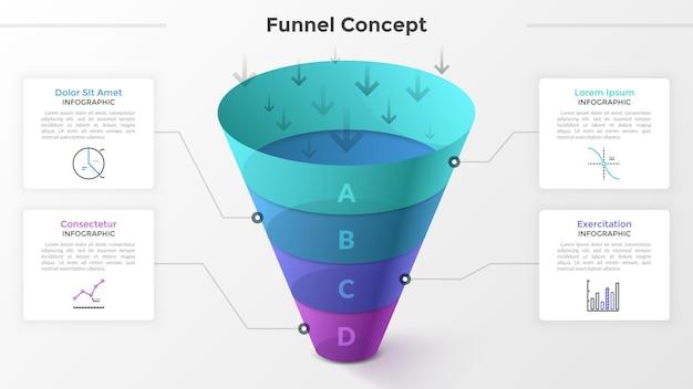 Воронка разделена на 4 красочные части, линейные символы и место для текста. концепция четырех этапов развития стартапа. современный инфографический шаблон дизайна. векторная иллюстрация для презентации
