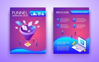 Funnel generating sales business brochure, flyer isometric template in vibrant