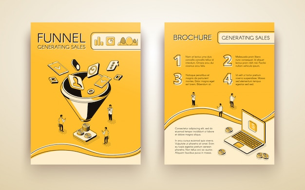 Funnel generating sales, business marketing brochure, poster or booklet