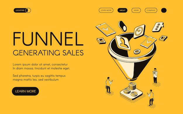 Funnel generating sales illustration for digital marketing and e-business technology.