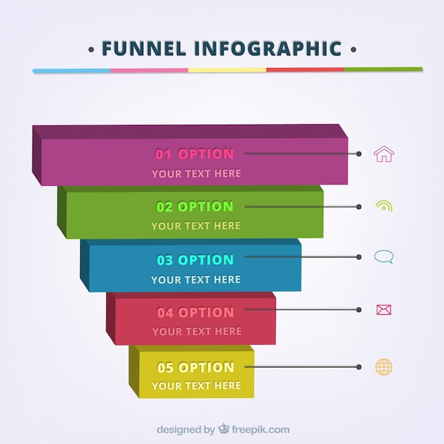 Funnel infographic template with five steps and icons