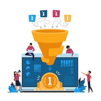 Funnel leads generation illustration