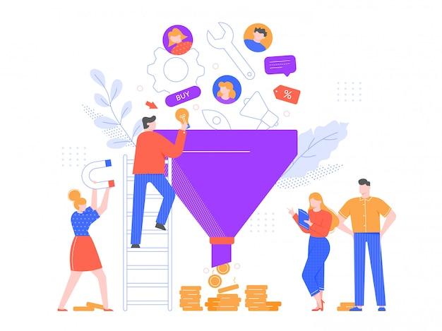 漏斗販売分析。リードジェネレーション、マーケティングファネル、販売戦略のイラスト。広告システム、顧客志向のビジネス。プロのマーケターチームの漫画のキャラクター