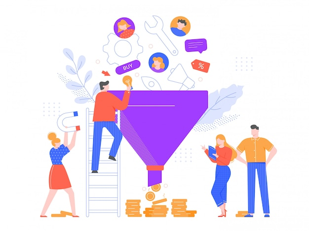 Funnel sales analyzing. lead generation, marketing funnel and selling strategy illustration. advertising system, customer oriented business. professional marketers team cartoon characters
