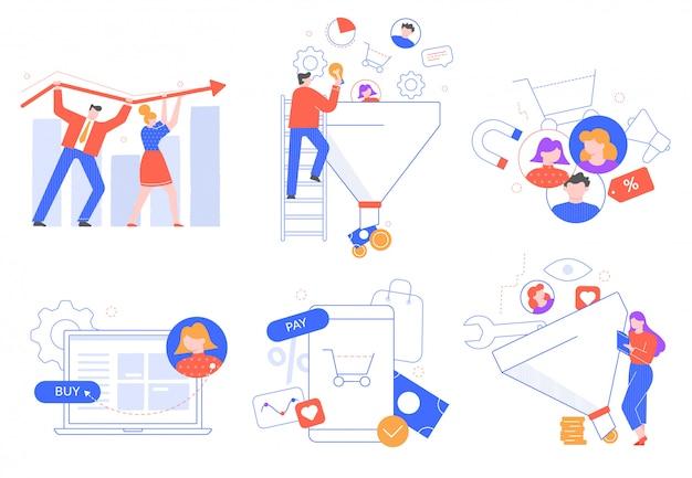 目標到達プロセスの売上高。顧客の魅力、マーケティングはバイヤーをリードします。顧客獲得と変換のイラストセット。販売の最適化と製品のプロモーション。メディアマーケティング戦略