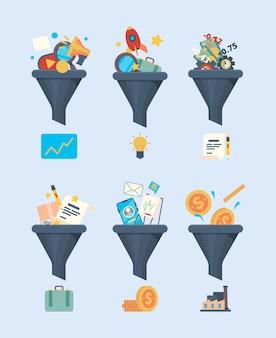 퍼널 판매. 돈 생성 기호 비즈니스 마케팅 개념 그림 상거래 아이콘 필터 깔때기 벡터 평면 사진