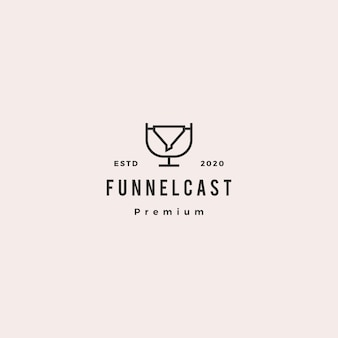 Funneling podcast logo hipster retro vintage icon for marketing blog video tutorial channel radio broadcast