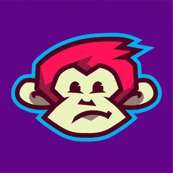 Забавный логотип талисмана головы обезьяны
