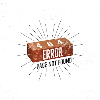 Funny 404 error page concept with brick