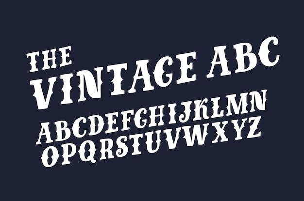 Funny abc retro slanted slab capital latin abc on black background