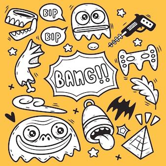 재미있는 추상 괴물 만화. 낙서 그림