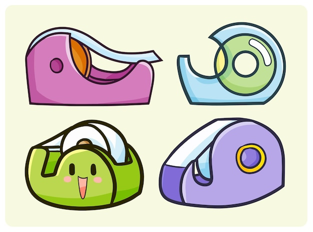 Funny adhesive tape dispenser collection in simple doodle style