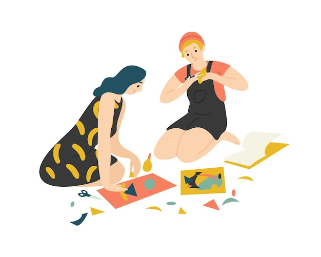 재미 있은 사랑스러운 어린 소년과 소녀 바닥에 앉아 가위로 다채로운 종이 절단 및 콜라주 만들기. 귀여운 남자와 집에서 함께 그들의 취미를 즐기는 여자. 플랫 만화 그림입니다.
