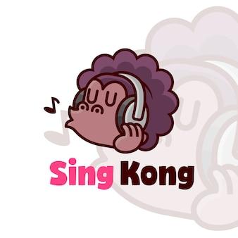 Смешный логотип afro gorilla в наушниках и поет
