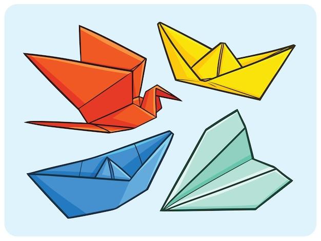 만화에서 재미 있는 비행기 보트와 백조 종이 접기