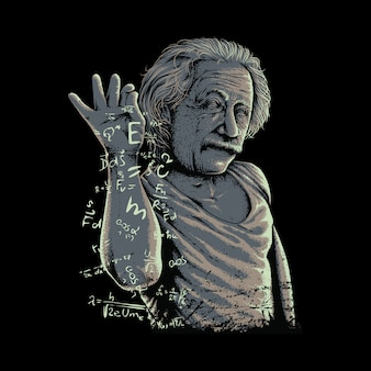 Funny albert einstein graphic illustration