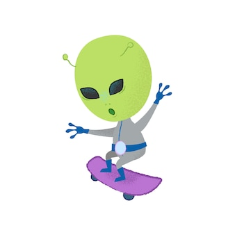 Funny alien skateboarding. stunt, creature, character.