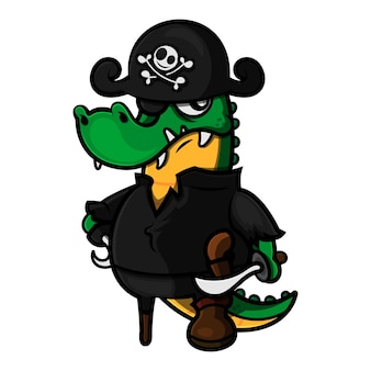 Funny alligator cartoon characters wearing a pirates cap and carrying cutlass